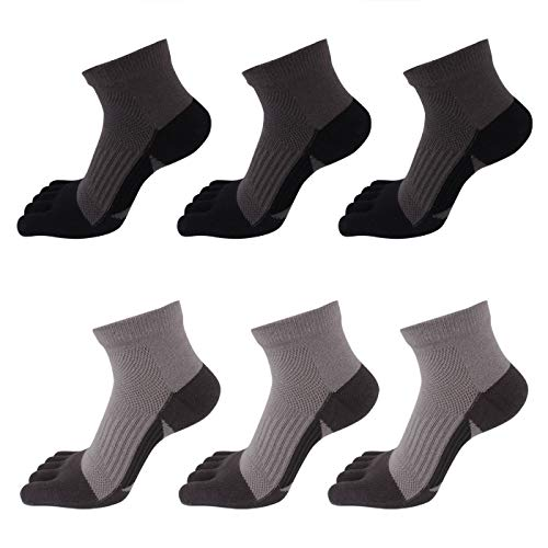 AIEOE - 6 pares de Calcetines Hombre de 5 Dedos Separados para...