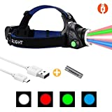 Headlamp LED 4 Colors(White, Red, Blue, Green), LUMENSHOOTER H14 Multi-Color USB Rechargeable Zoomable Headlight Helmet Light, Perfect for Camping, Running, Hiking, Hunting