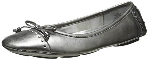 Anne Klein Sport Women's Buttons Synthetic Pewter Ballet Flat - 10.5 B(M) US