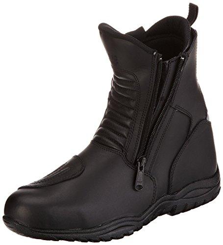 Protectwear TB-ALN-45 halbhoher Motorradstiefel, Tourenstiefel, Allroundstiefel aus schwarzem Leder mit 2 Reißverschlüssen, Größe 45, Schwarz