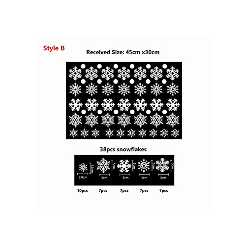 38pcs / Lot di Natale fiocchi di neve elettrostatiche adesivi per Glass Window parete Adesivi...
