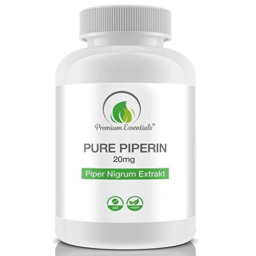 Pure Piperine 20mg, 365 Tabletten (vegan), reines hochdosiertes Piperin, Piper Nigrum, Schwarzer Pfeffer Extrakt, Premium Qualität (GMP)