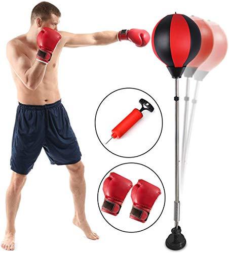 Qdreclod Sacca da Boxe Punching Ball Reflex per punzonatura con Ventosa Regolabile in Altezza Molla...