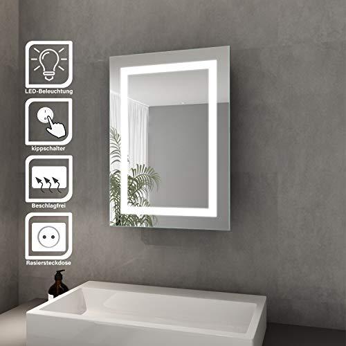 Elegant Bad Spiegelschrank mit Beleuchtung Schiebetür LED Licht Badezimmer Spiegelschrank Bad Hängeschrank mit Steckdose und Kippschalter 50 x 70 cm