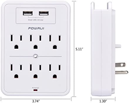 POWRUI Surge Protector, USB Wall Charger with 2 USB Charging Ports(Smart 2.4A Total), 6-Outlet Extender and Top Phone Holder for Your Cell Phone, White, ETL Listed 18