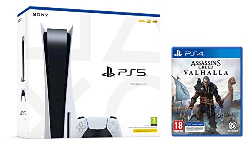 PS5 Konsole Sony PlayStation 5 - Standard Edition, 825 GB, 4K, HDR (Mit Laufwerk) + Assassin's Creed Valhalla PS4 [inkl. kostenlosem Upgrade auf PS5]