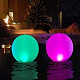Floating Pool Lights - Inflatable Waterproof LED Solar Glow Globe/Floating Ball Lamp, Outdoor Color Changing LED Night Light, Party Decor for Swimming Pool,Wedding, Beach, Yard, Lawn, Pathway (2 PCS)