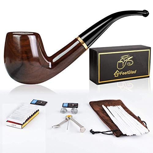 FeelGlad - Juego de pipas para tabaco de madera 5 en 1 con 4 accesorios para fumador, rascador de acero inoxidable, paletas, filtros de carbón Activo, bola de metal