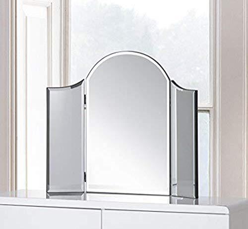 Julian Bowen - Specchio da tavolo curvo 'Canto', colore: Grigio, In vetro., taglia unica