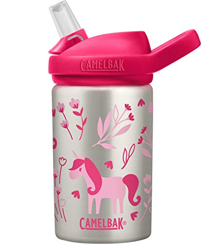 CamelBak Eddy+ Kids Water Bottle, Stainless Steel with Straw Cap, 14 oz, Unicorn & Blooms - Spill-Proof When Open, Leak-Proof When Closed, Model Number: 2305104040