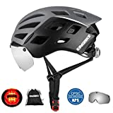 KINGBIKE Bike Helmet Bicycle Helmets Cycling for Adults Men Women Youth Detachable Magnetic Visor Shield Goggles UV4000 Protection LED Rear Light MTB Road Commute Street Specialized (Ti)