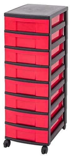IRIS Schubladenbox mit Rollen, Kunststoff, rot/schwarz (8 kleine) - Schubladenschrank Schubladen-Container stapelbar Rollwagen Rollcontainer Werkzeugschrank Keller