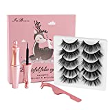 Magnetic Eyelashes with Eyeliner, InBrave 6D Reusable Magnetic False Lashes and Liner Natural Look with Applicator - No Glue Needed (5 Pairs)