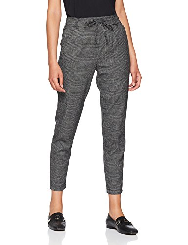 ONLY NOS Damen Hose Onlpoptrash Soft Check Pant Noos, Grau (Black Checks: Cloud Dancer), L / 32