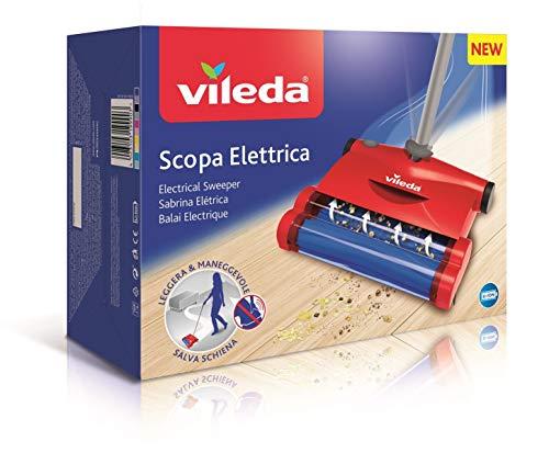 Vileda Scopa Elettrica Quick & Clean, Scopa Elettrica Senza Fili, con Vano Raccogli-Sporco, Leggera...
