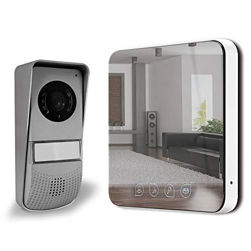Extel - Visiophone - Visio ultra plat design 'effet mirroir', fonction monitoring, surveillance possible en Vision Nocturne, 9 sonneries disponibles, Portée Platine/moniteur max: 10 m - 642277