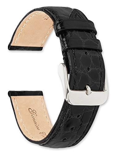 deBeer Brand Genuine Crocodile Watch Band (Silver & Gold Buckle) - Black 20mm