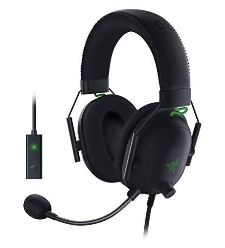 Razer BlackShark V2 mit USB Soundkarte - Premium Esports Gaming Headset (Kabelgebundene Kopfhörer mit 50mm-Treiber, Rauschunterdrückung für PC, Mac, PS4, Xbox One & Switch) Schwarz