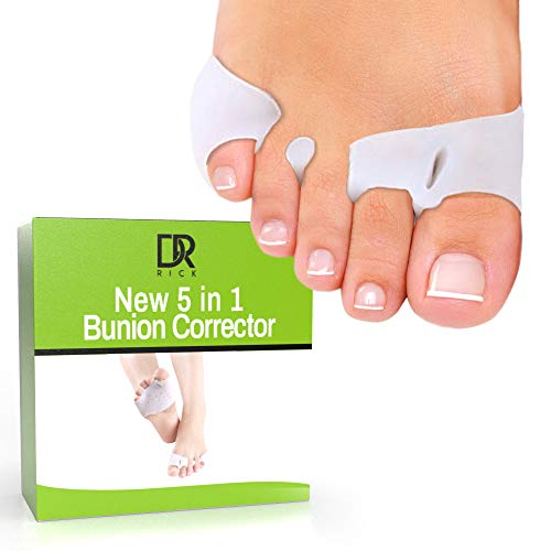 Dr. Rick - 5 in 1 Bunion Gel Sleeve | Hammertoe pad and Toe Separator | Bunion Relief and Corrector | Gel Metatarsal Cushion Bunion Corrector Pad |Toe Spacers for Diabetic Feet,Blisters,Forefoot Pain