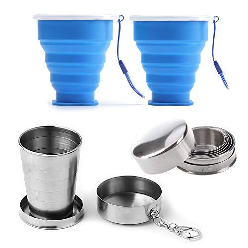 Nsiwem Tasse Pliable de Voyage 4 pièces Verre Pliable Mug à café...