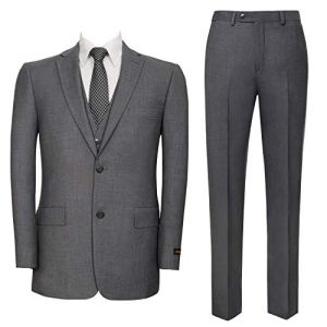 Pio Lorenzo Men's 3-Piece Suit Jacket & Hidden Expandable Waist Pants Big and Tall Tuxedo Grey