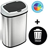 SensorCan 13 Gallon Automatic Touchless Sensor Kitchen Can with 1 Waterproof Reusable TRASH Vinyl Sticker, Stainless Steel, Oval Shape