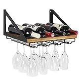 J JACKCUBE DESIGN MK478A - Wall Mount Wine Rack with Glass Holder (Wood)