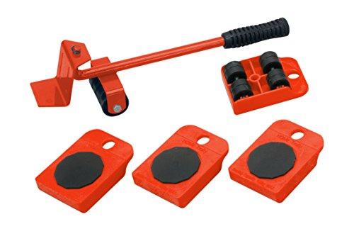 Meister, articolo: 419900 - Rullo di trasporto per mobili, Set da 5 pezzi, Rosso