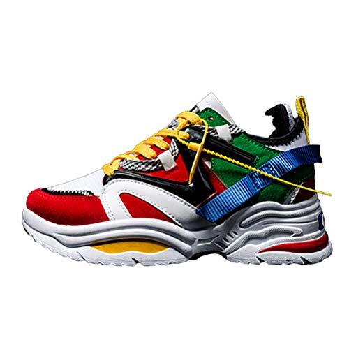 Mujeres Entrenadores Zapatos Casual Clunky Sneakers Encaje hasta Chunky Zapatos Atléticos Grueso Suela Deportes Cuña Tacón Zapatos de Gimnasio al Aire Libre
