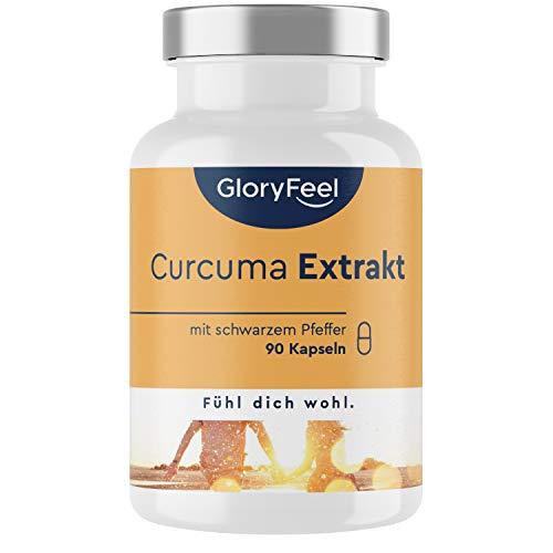 Curcuma Extrakt + Bio Curcuma - 90 Kapseln - Curcumin-Gehalt EINER Kapsel entspricht ca. 11.100mg Kurkuma - 95% Extrakt Hochodosiert - Laborgeprüft, vegan ohne Zusätze hergestellt in Deutschland