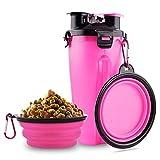 MATT SAGA Bouteille d'eau pour Chien avec 2 Bols Pliables Portable 2 en 1 Bouteille d'eau et...