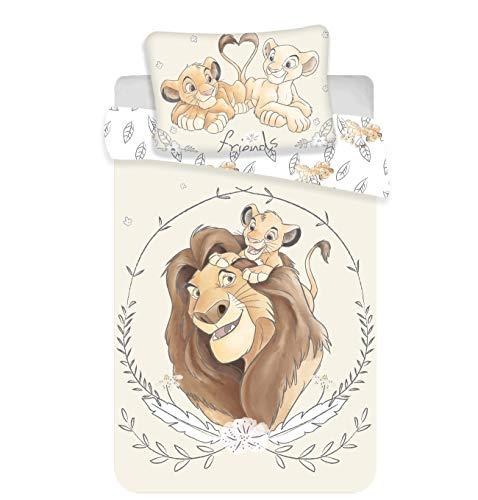 Disney, Il Re Leone, Simba e Mufasa, set di biancheria per lettino, copripiumino e federa, 100% cotone, 100 x 135 cm