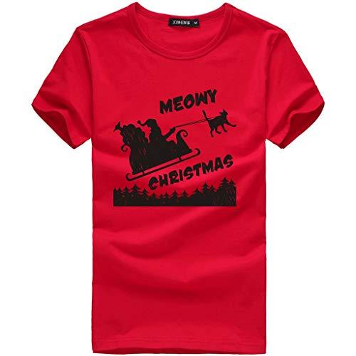 T-Shirt Camicia da Uomo Manica Corta a Maniche Corte Stampata Natalizia con Collo Rotondo (XL,2- Rosso)