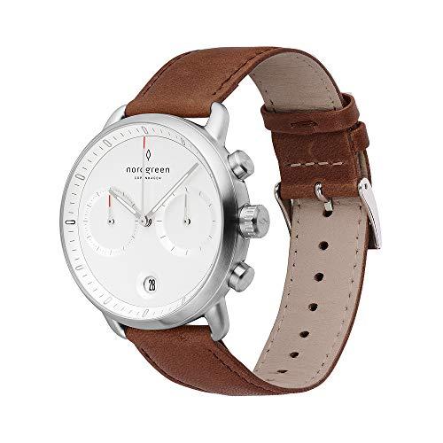 Nordgreen Pioneer skandinavische Herrenuhr in Silber mit Weißem Ziffernblatt und austauschbarem 42mm Leder Armband Braun 14045