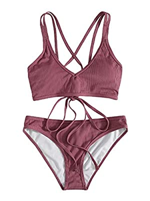 Features: Plain, adjustable strap, v neck, criss cross back, ribbed, two piece swimsuits. Soft with good elasticity, comfy to wear. Please refer to our Size Chart(Not Amazon).Recommend to CHOOSE One Size Up! Package Including: 1×Bikini set(top & bott...