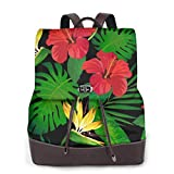 Yuanmeiju Womens Fashion Backpack Tropical Leaves and Red Flowers Shoulder Daypack Leather College Bag Girls
