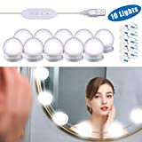 Mirror Lights, Hollywood Style LED Vanity Mirror Lights Kit with 10 Dimmable Bulbs, USB Cable Vanity Lights for Mirror with 3 Color Modes & 10 Adjustable BrightnessMirror & USB Charger Not Include)