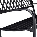 Relaxdays Gartenbank, bequemer 2-Sitzer, geflochtenes Design, für Terrasse & Balkon, HBT 86,5 x 127,5 x 58,5 cm, schwarz - 4