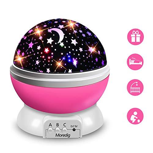 Moredig - Lampada Proiettore Stelle Bambini, Luce Notturna Bambini con 8 Colori Luci & 360...