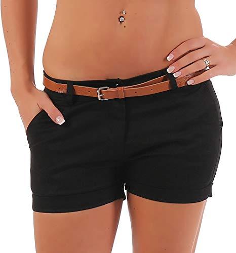 Malito Damen Chino Shorts in Unifarben | lässige Kurze Hose | Bermuda für den Strand | Pants - Hotpants 5397 (schwarz, S)