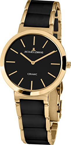 JACQUES LEMANS Damenuhr Milano Metallband/High-Tech-Ceramic massiv Edelstahl ip-Gold 1-1999C