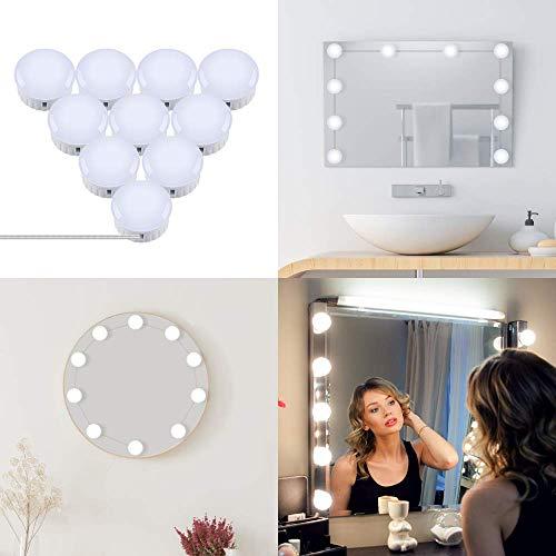 OUSFOT Led Spiegelleuchte Spiegellampe Hollywood Stil Schminklicht für Spiegel mit Schalter Make Up Licht 10 Dimmbar Verstellbare Länge Kaltweiß Verpackung MEHRWEG