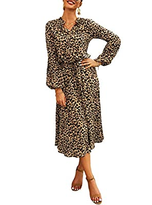 Feature: Women Midi Dress/ Long Sleeves dress/ Leopard Print Dress/ V Neck/ High Waist/ Drawstring Waist Belt/ Button Placket/ Shirt Collar/ Over calf length/ Elastic Sleeve Cuffs/ Autumn Winter Dress/ Stylish Dress/ Classic Print Dress/ Size Selecti...
