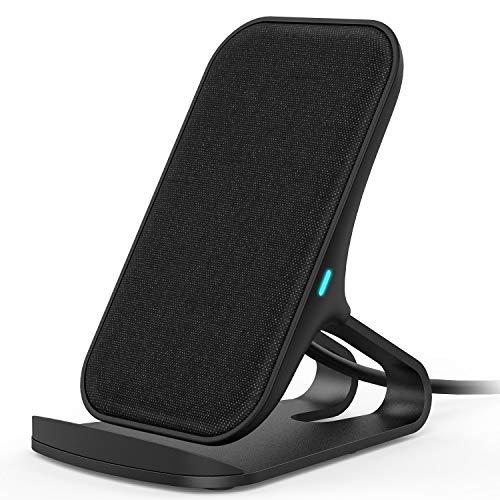 Lecone Caricatore Wireless con Tessuto, Supporto di Ricarica Wireless Qi Compatibile con iPhone 11/XR/XS Max/XS/X/SE 2020, 10W Ricarica Rapida per Samsung Galaxy S20/S10/Note10/S9/S9+/S8+/Nota 9 Nero