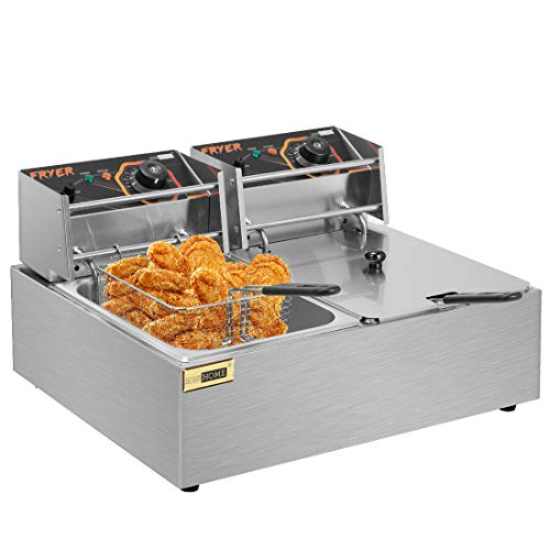 VIVOHOME Stainless Steel 20.7QT/19.6L Large Capacity Electric Commercial Dual Tank Deep Fryer Countertop with Double Baskets and Temperature Limiter