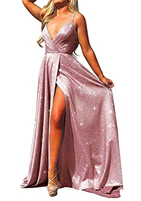 Material: Sparkling Cloth( Has a definite elasticity)Beisdes, due to the particularity of the material, the actual color of dress is slightly lighter than the picture Features: Deep v neck , high side slit ,spaghetti,sleeveless , a line, floor length...