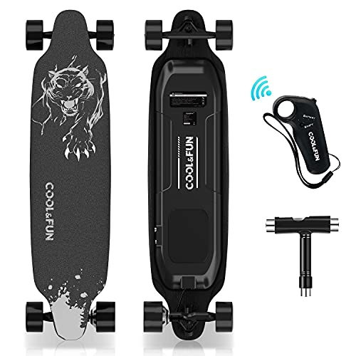 HOVERMAX Skateboard Electrique,35.4* 9 inches Longboard Électrique avec Télécommande ,pour Adultes Adolescents Débutants, Moteur sans Balai 400W, Pont en Erable de 11 étages, Noir