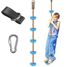 WAREMAID Climbing Rope Tree Swing with Platforms and Disc Swings Seat, Outdoor Backyard Playground Swingset Accessories with 59″ Tree Swing Strap and Snap Hooks for Kids, Outside Tree Swing Toys
