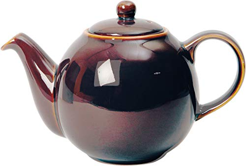 London Pottery 84440 Globe Ceramic Teapot with Strainer, 4 Cup (900 ml), Oyster Rockingham