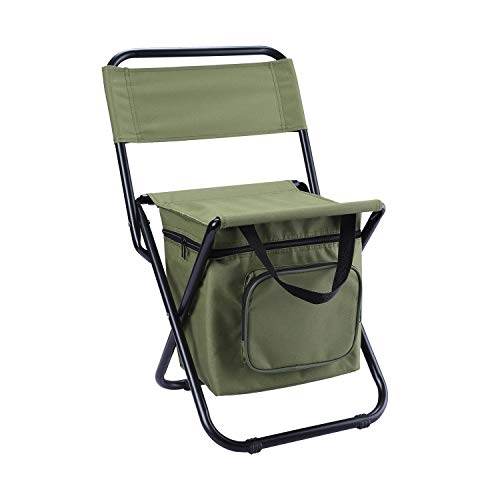 2. Foldable Ice Fishing Chair with Cooler Bag